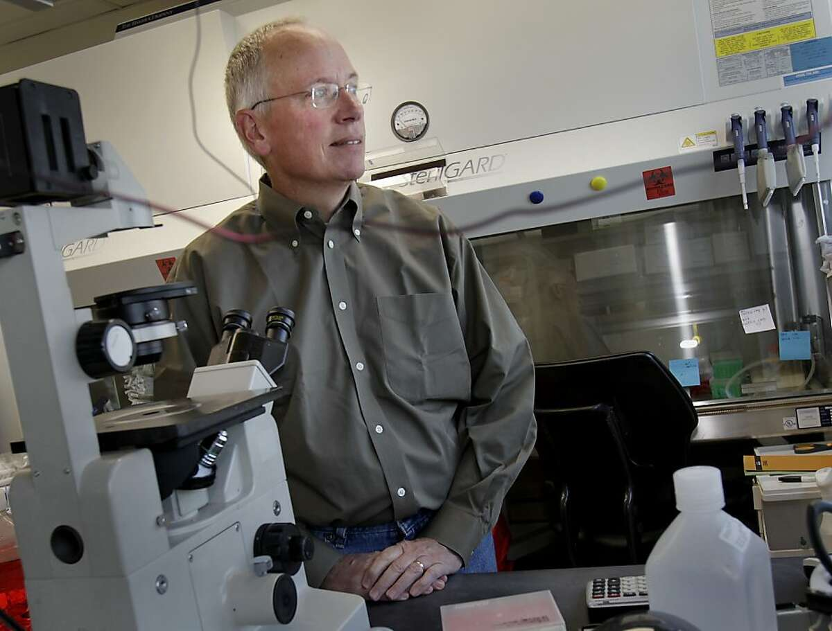 Dr. Mark Sliwkowski in a research oncology lab on the Genentech South San Francisco campus where the new drug was worked on.
