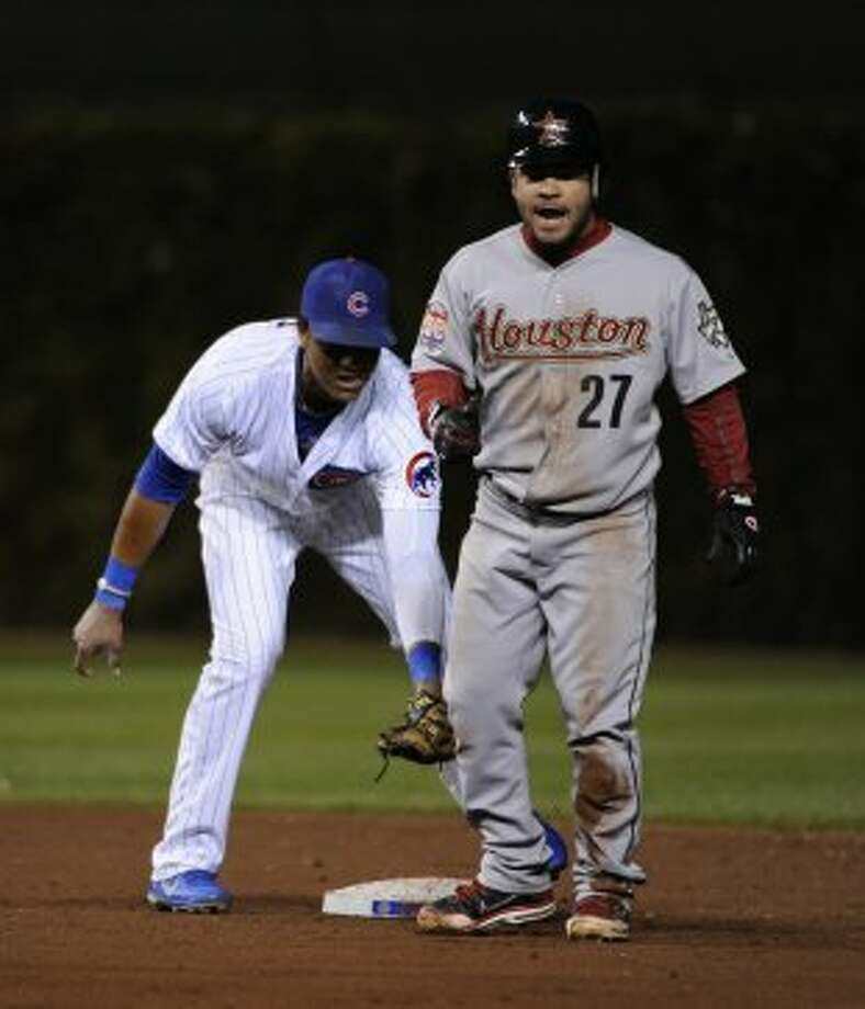 Oct. 1: Astros 3, Cubs 0Jose Altuve of the Astros is tagged out at second base. (2012 Getty Images)