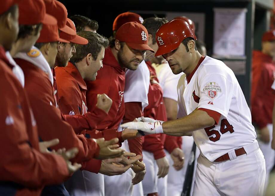 Garcia, far right, homered and pitched into the seventh inning Monday night. Photo: Jeff Roberson, Associated Press