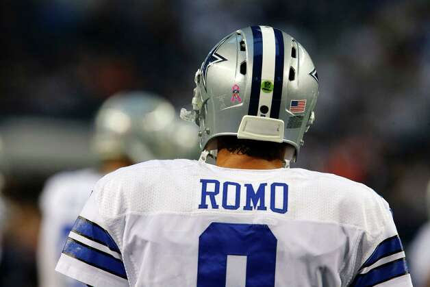 Dallas Cowboys' Tony Romo (9) before an NFL football game against the Chicago Bears Monday, Oct. 1, 2012, in Arlington, Texas. (AP Photo/Sharon Ellman) Photo: Sharon Ellman, Associated Press / FR170032 AP