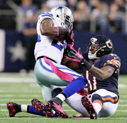 Dallas Cowboys' Morris Claiborne recovers a fumble by Chicago Bears' Alshon Jeffery during second half action Monday Oct. 1, 2012 at Cowboys Stadium in Arlington, Tx.  The Bears won 34-18. Photo: Edward A. Ornelas, Express-News / © 2012 San Antonio Express-News