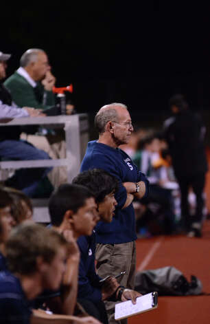 Staples' boys soccer head coach Dan Woog on the sidelines during the boys soccer game against Norwalk at Norwalk High School's Testa Field on Monday, Oct. 1, 2012. Photo: Amy Mortensen / Connecticut Post Freelance