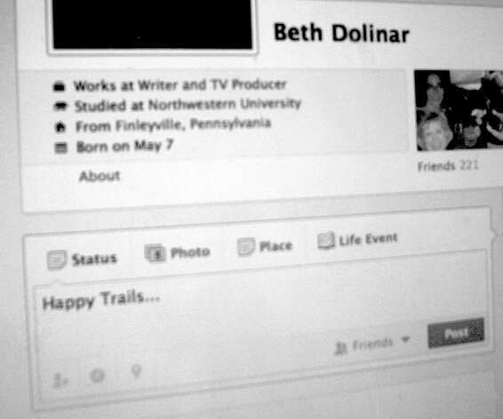 "Beth Dolinar says she is giving up her Facebook account. ""I've bailed out of the social website, pulling the plug on my page and my 221 friends and all those carefully edited photos of my family and me,"" sahe says. Photo: Contributed Photo"