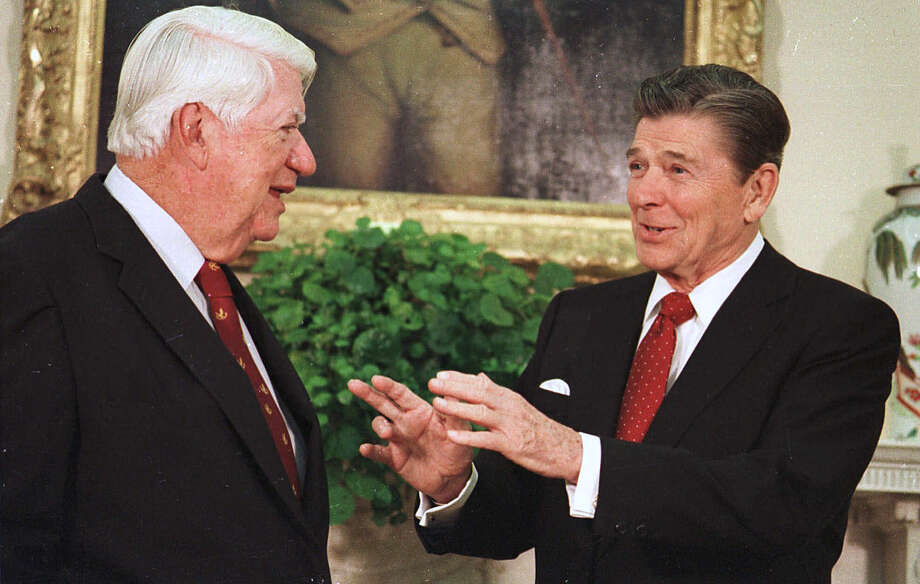 "In this November 1985 file photo Republican President Ronald Reagan (right) talks with then-Democrat House Speaker Thomas ""Tip"" O'Neill Jr. in the Oval Office of the White House. Photo: SCOTT STEWART, AP / AP"