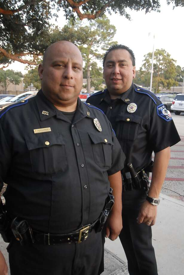 Spring Branch ISD police officers Dwayne Hernandez and Jesse Diaz have been recognized for playing a key role in fighting gangs. Photo:  Tony Bullard 2012 / © Tony Bullard & the Houston Chronicle