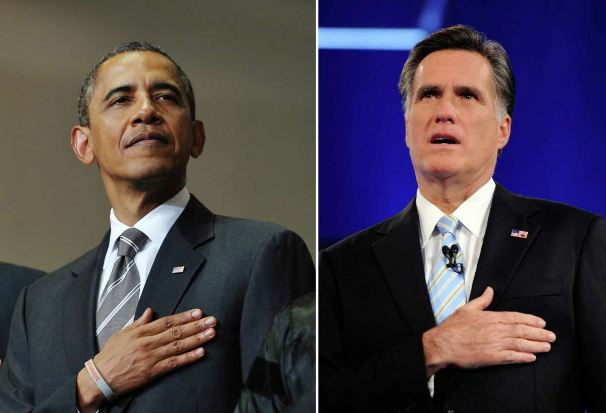 This combination of file pictures shows US President Barack Obama (L) listening to the national anthem during the Joplin High School Commencement Ceremony May 21, 2012 at Missouri Southern State University in Joplin, Missouri, and US Republican presidential candidate Mitt Romney (R) singing the national anthem at a debate sponsored by CNN and the Republican Party of Arizona at the Mesa Arts Center February 22, 2012 in Mesa, Arizona. AFP PHOTO Mandel NGAN/AFP - Ethan Miller/Getty Images/AFP-/AFP/GettyImages