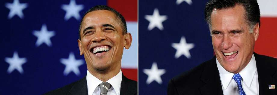 This combination of file pictures shows US President Barack Obama (L) speaking during a campaign event at the Apollo Theatre in New York on January 19, 2012, and Republican presidential candidate Mitt Romney (R) smiling as he arrives to speaks at his caucus night rally following republican caucuses in Des Moines, Iowa, on January 3, 2012. AFP Photo/Jewel Samad-/AFP/GettyImages Photo: -, AFP/Getty Images / AFP