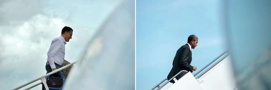 This combination of file pictures shows US Republican presidential candidate Mitt Romney (L) boarding his campaign plane at Tampa International Airport in Tampa, Florida, on August 29, 2012 en route to Indianapolis, Indiana, and US President Barack Obama (R) walking to Air Force One at Andrews Air Force Base September 17, 2012 in Maryland.  AFP PHOTO/Jewel Samad /Brendan SMIALOWSKI-/AFP/GettyImages Photo: -, AFP/Getty Images / AFP