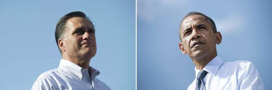 This combination of file pictures shows US Republican presidential candidate Mitt Romney (L) speaking during a campaign rally at Flagler College in St. Augustine, Florida, August 13, 2012, and US President Barack Obama (R) pausing while speaking during a campaign event in Lions Park a September 13, 2012 in Golden, Colorado. AFP PHOTO / Saul LOEB /Brendan SMIALOWSKI-/AFP/GettyImages Photo: -, AFP/Getty Images / AFP
