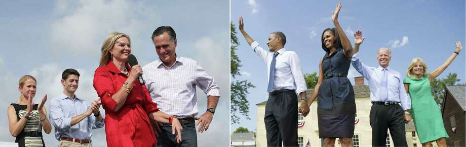 This combination of file pictures shows (L) Janna Ryan, Republican vice presidential candidate U.S. Rep Paul Ryan (R-WI), Ann Romney and Republican presidential candidate Mitt Romney attending an RNC Farewell Victory rally on August 31, 2012 in Lakeland, Florida, and (R) US President Barack Obama waving alongside First Lady Michelle Obama (2nd L), Vice President Joe Biden (2nd R) and his wife, Jill (R), after speaking during a campaign event at Strawbery Banke Field in Portsmouth, New Hampshire, September 7, 2012. AFP PHOTO /  Justin Sullivan/Getty Images/AFP - Saul LOEB/AFP-/AFP/GettyImages Photo: -, AFP/Getty Images / AFP