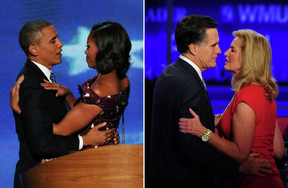 This combination of file pictures shows (L) US President Barack Obama greeting First lady Michelle Obama on stage during the final day of the Democratic National Convention at Time Warner Cable Arena on September 6, 2012 in Charlotte, North Carolina, and (R) Former Massachusetts Governor Mitt Romney kissing his wife Ann after the first 2012 Republican presidential candidates' debate in Manchester, New Hampshire June 13, 2011. AFP PHOTO/ Alex Wong/Getty Images/AFP - Emmanuel DUNAND/AFP-/AFP/GettyImages Photo: -, AFP/Getty Images / AFP