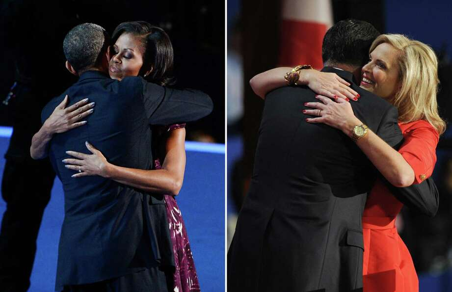 This combination of file pictures shows (L) US President Barack Obama huging First lady Michelle Oba