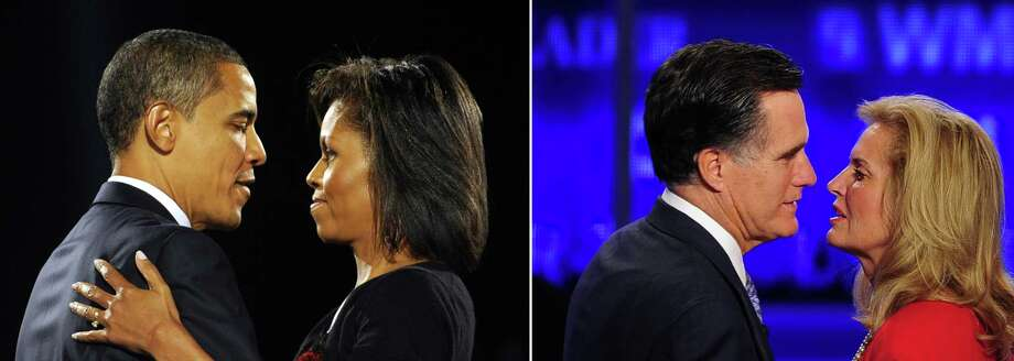 This combination of file pictures shows (L) US president-elect Barack Obama and his wife Michelle embracing on stage during Obama's election night victory rally at Grant Park on November 4, 2008 in Chicago, Illinois, and (R) former Massachusetts Governor Mitt Romney kissing his wife Ann after the first 2012 Republican presidential candidates' debate in Manchester, New Hampshire June 13, 2011. AFP PHOTO / Emmanuel DUNAND-/AFP/GettyImages Photo: -, AFP/Getty Images / AFP
