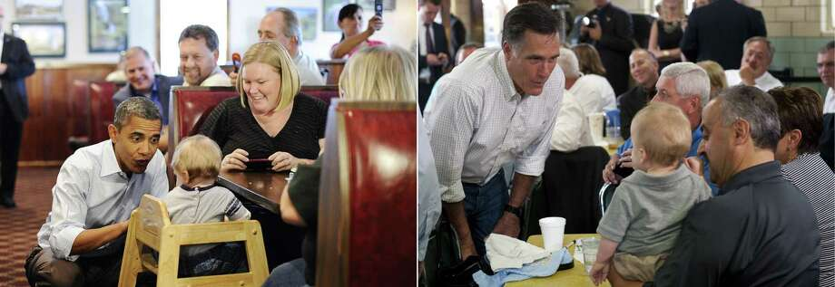 This combination of file pictures shows US President Barack Obama (L) chating with a child as he visits the Countryside barbecue restaurant lunch in Marion, North Carolina, on October 17, 2011, and US Republican presidential candidate Mitt Romney (R) talking with supporters during a campaign stop at Tom's Ice Cream Bowl in Zanesville, Ohio, on August 14, 2012. AFP Photo/ Jewel SAMAD / Saul LOEB-/AFP/GettyImages Photo: -, AFP/Getty Images / AFP