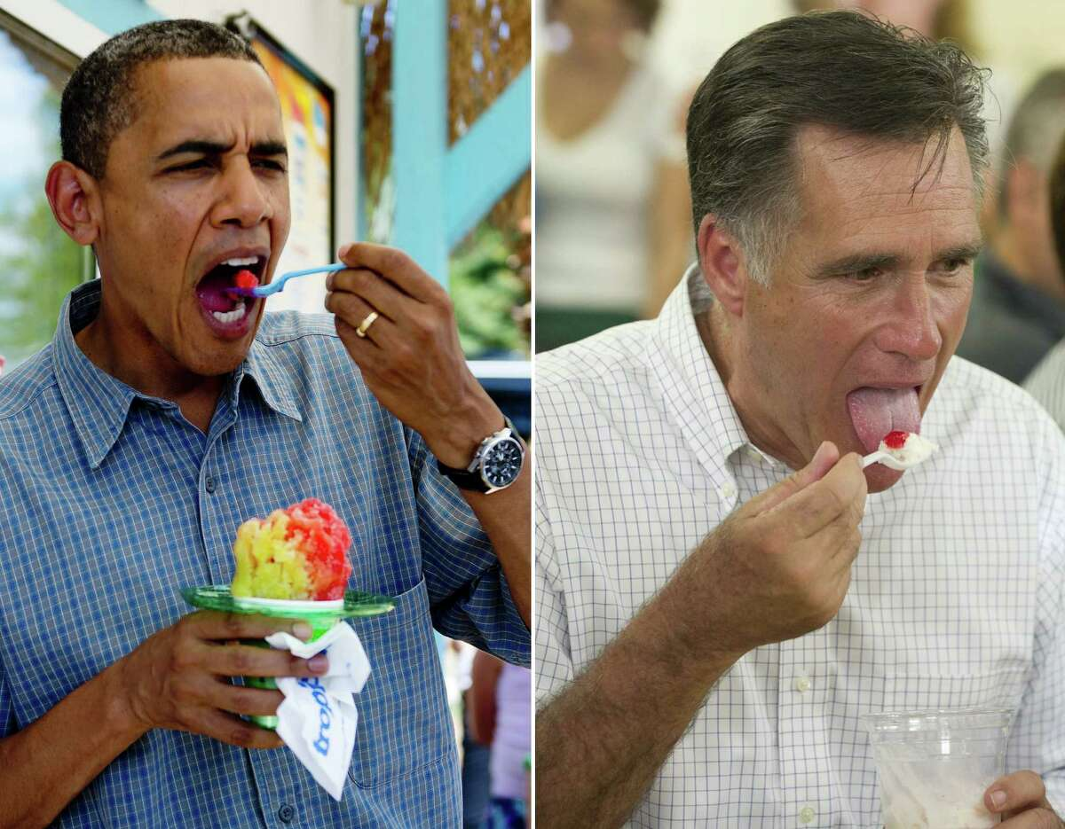 This combination of file pictures shows US President Barack Obama (L) eating shaved ice at Tropical Sno in Denison, Iowa, August 13, 2012 during his three-day campaign bus tour through Iowa, and US Republican presidential candidate Mitt Romney (R) eating ice cream during a campaign stop at Tom's Ice Cream Bowl in Zanesville, Ohio, August 14, 2012. AFP PHOTO/ Jim WATSON / Saul LOEB-/AFP/GettyImages