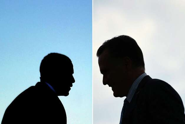 This combination of file pictures shows US President Barack Obama (L) boarding Air Force One at Andrews Air Force Base in Maryland on January 19, 2012 to leave to visit Walt Disney World Resort in Florida, US Republican presidential candidate Mitt Romney (R) disembarking from his campaign plane at St. Paul International Airport in Minneapolis, Minnesota, on August 23, 2012. AFP PHOTO/Jewel Samad-/AFP/GettyImages Photo: -, AFP/Getty Images / AFP