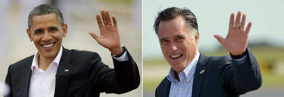 This combination of file pictures shows US President Barack Obama (L) arriving at the Convention Centre in Cartagena, Colombia to attend the opening of the VI Americas Summit on April 14, 2012, and US Republican presidential candidate Mitt Romney (R) waving as he arrives in Portsmouth, New Hampshire, on August 25, 2012. AFP PHOTO / ALFREDO ESTRELLA /Jewel SAMAD-/AFP/GettyImages Photo: -, AFP/Getty Images / AFP