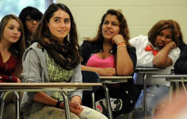 Andrea Giovine tells students in an Italian 2 class at Westhill about her life in Italy on October 2, 2012. Photo: Lindsay Niegelberg / Stamford Advocate