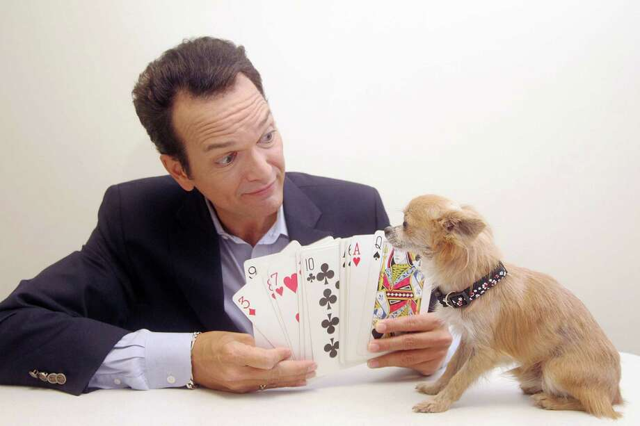 Paul Driscoll rehearses a magic trick with Houdini. They will perform at the Pets & People Alliance benefit gala Oct. 11. Photo: Pin Lim / Copyright Pin Lim.