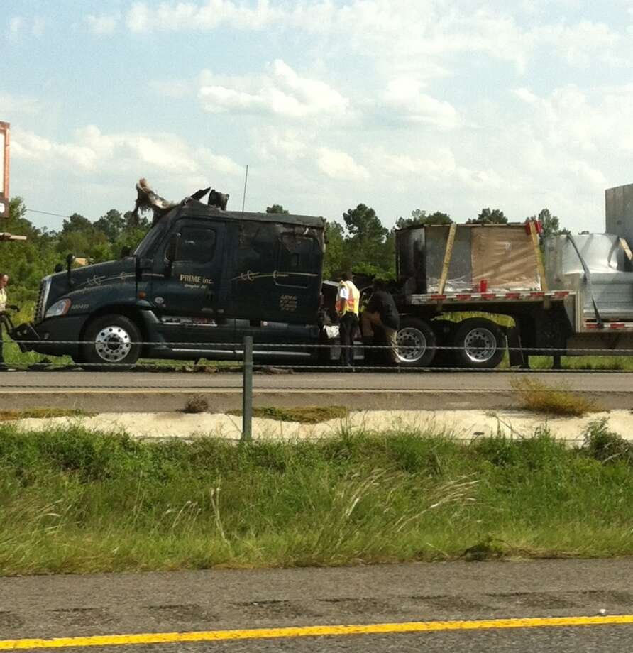A tanker truck caught fire on I-10 east Tuesday afternoon. Photo: Ioanna Makris
