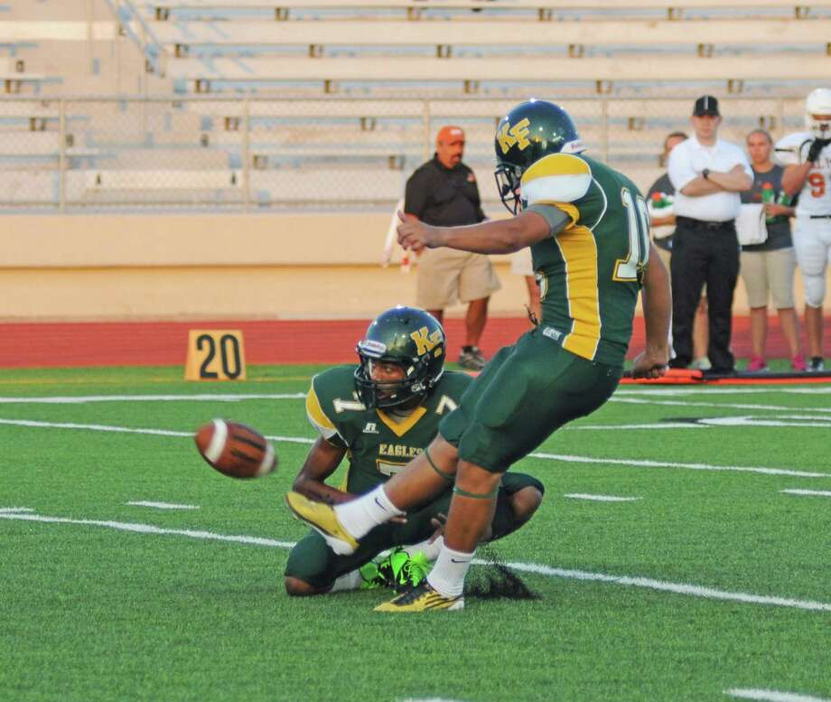 Klein Forest kicker Jose Navarro, right, kicked a game-winning field goal during a 31-30 win against Dekaney last week. DeAndre Harris is Navarro's holder. Photo: L. Scott Hainline / freelance