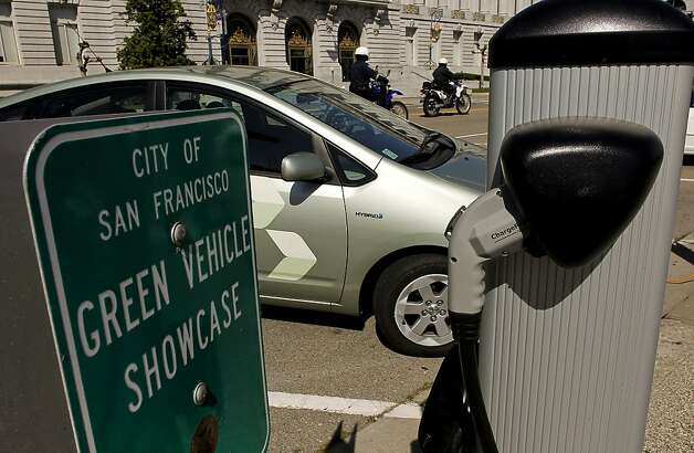Several charging stations for electric vehicles, on Wednesday Apr. 6, 2011, are already installed and working at Civic Center Plaza in San Francisco, Ca. A new grant from the EPA pledges $700,000 to turn San Francisco's Civic Center Plaza into a showcase for urban green space. Photo: Michael Macor, The Chronicle