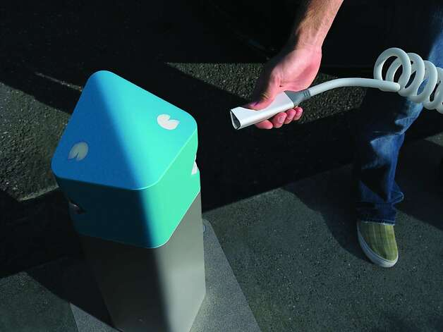Better Place electric car recharging system for sidewalks. Designed by: Better Place Inc., Palo Alto, United States.Additional credits: NewDealDesign LLC (design strategy and industrial design); Photo: Handout