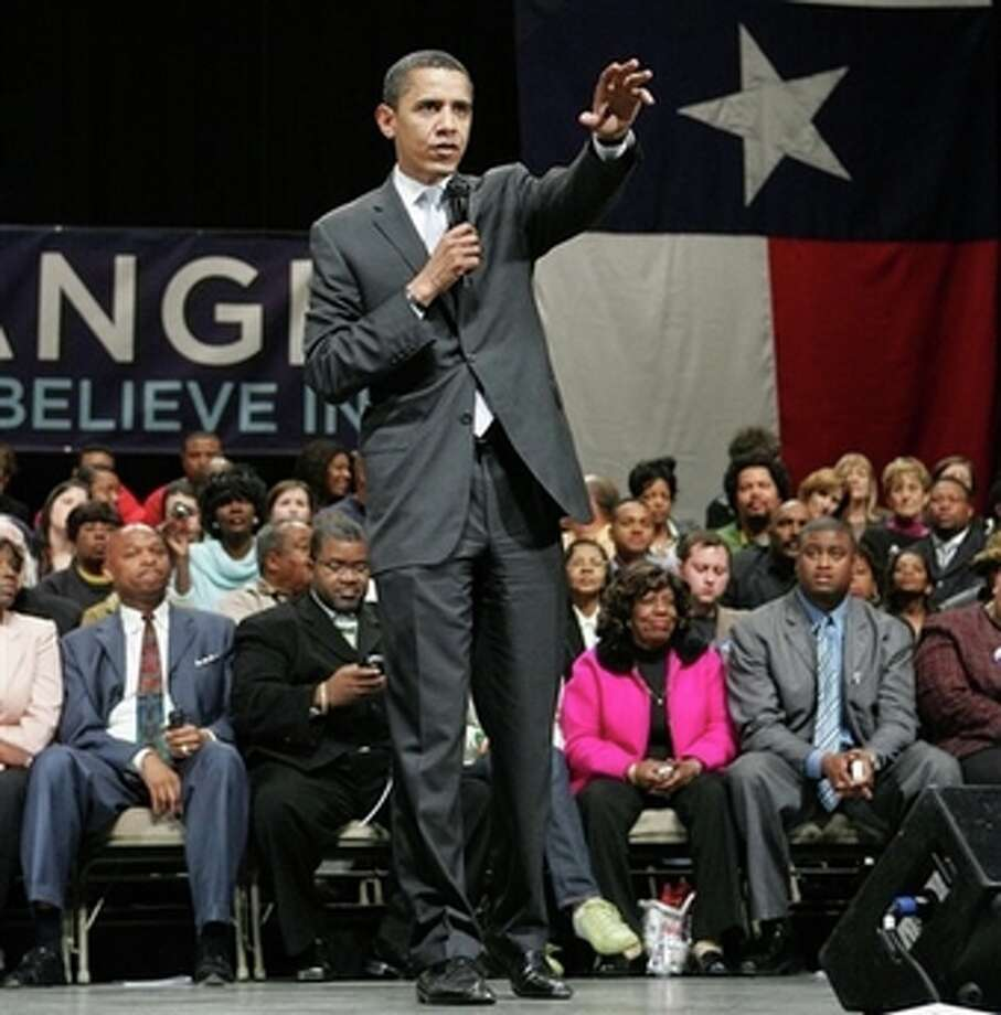 Democratic presidential hopeful Sen. Barack Obama, D-Ill., speaks during a town hall meeting campaign event Thursday, Feb. 28, 2008, in Beaumont, Texas. (AP Photo/Rick Bowmer) (AP)