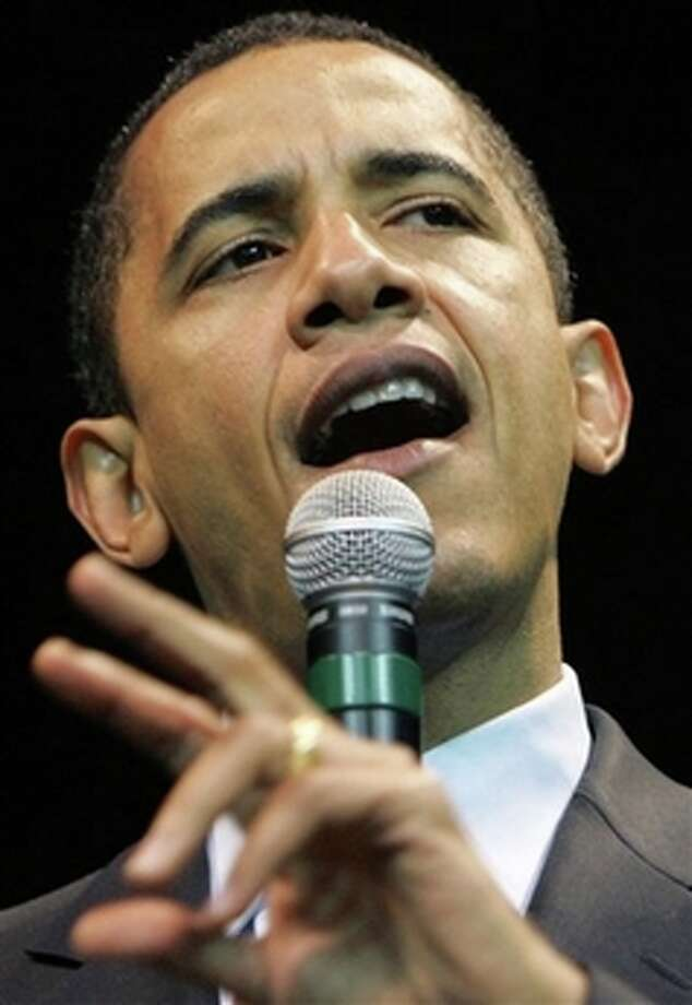 Democratic presidential hopeful, Sen. Barack Obama, D-Ill., speaks during a rally in this Feb. 22, 2008, file photo in Corpus Christi, Texas. (AP Photo/Rick Bowmer) (AP)