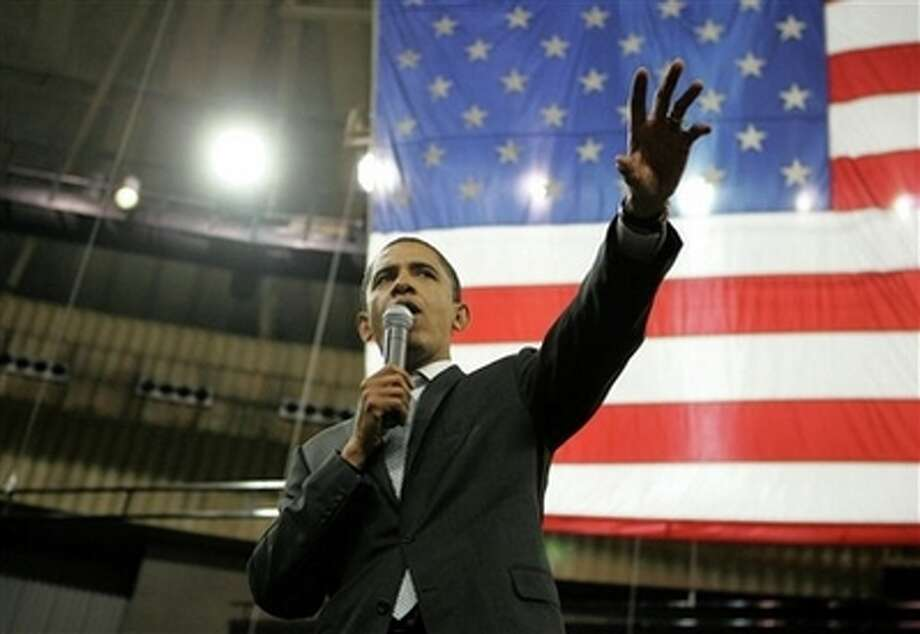Democratic presidential hopeful Sen. Barack Obama, D-Ill., speaks during a rally Thursday, Feb. 28, 2008, in Ft.  Worth, Texas. (AP Photo/Rick Bowmer) (AP)