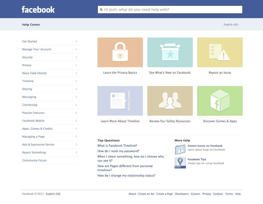 This image provided by facebook shows the website's redesigned help center, developed to make it easier to navigate and find what you need help with on the site or its mobile applications. Though it's only fully accessible on Facebook's website, the new help center was designed to look and feel more like a mobile app, says Terry Guo, product manager at the Menlo Park, California-based social media company. ( AP Photo/Facebook) Photo: Facebook