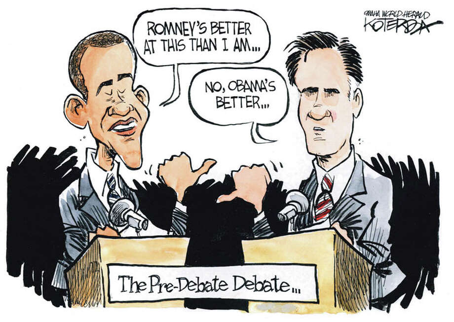 "Today's editorial cartoon, ""Romney-Obama Debate,"" is by Jeff Koterba of the Omaha World Herald."