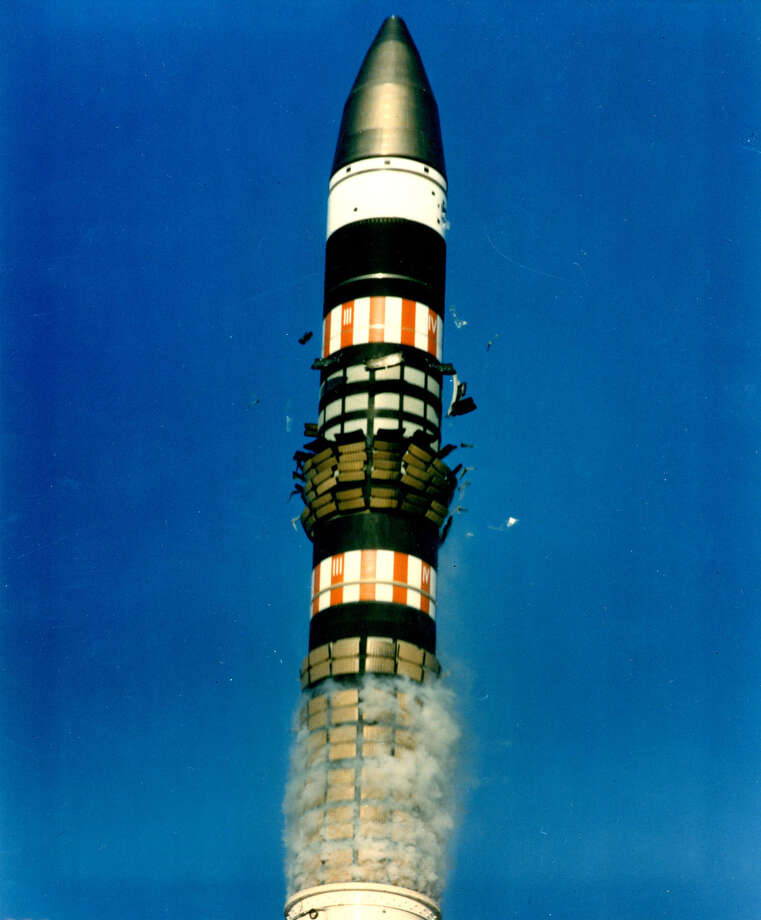Shock-absorbing tiles, which help the missile exit its canister, fall away as Peacekeeper is launched. Photo: U.S. Air Force