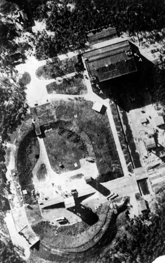 This reconnaissance photo of Peenemunde shows light flack (A), rocket transport cradles (B) and two rockets (C). Photo: Keystone, Getty Images / Hulton Archive