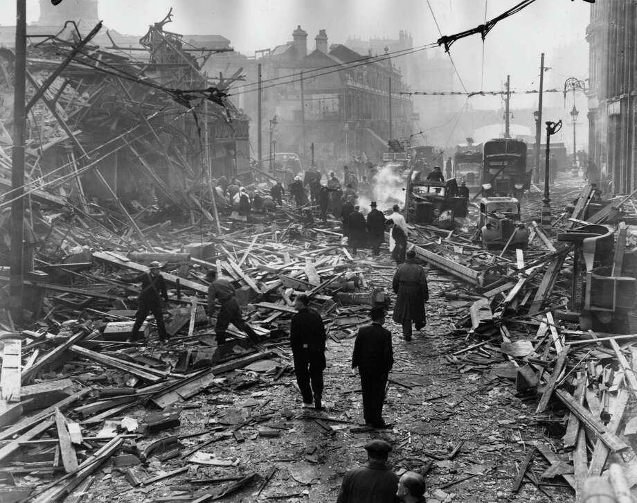 Damage is shown after a V-2 hit the Central Markets in Farringdon Road, London, in 1945. Germany launched almost 3,000 V-2s against England, France, and Belgium. Photo: Fox Photos, Getty Images / Hulton Archive
