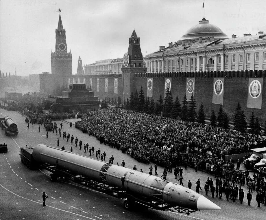 A Russian intercontinental ballistic missile crosses Moscow's Red Square on May 12, 1965, during the military parade marking the 20th anniversary of the end of the war in Europe. Photo: Central Press, Getty Images / Hulton Archive