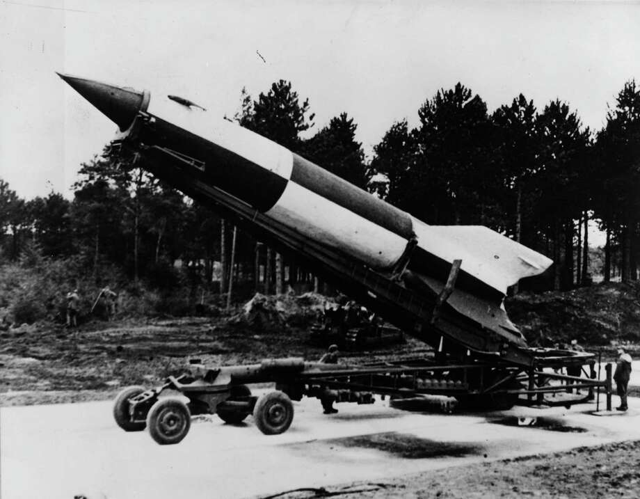 A German V-2 is shown rocket ready for launching at Cuxhaven in Luneburg district, Lower Saxony, in 1945. Photo: Fox Photos, Getty Images / Hulton Archive