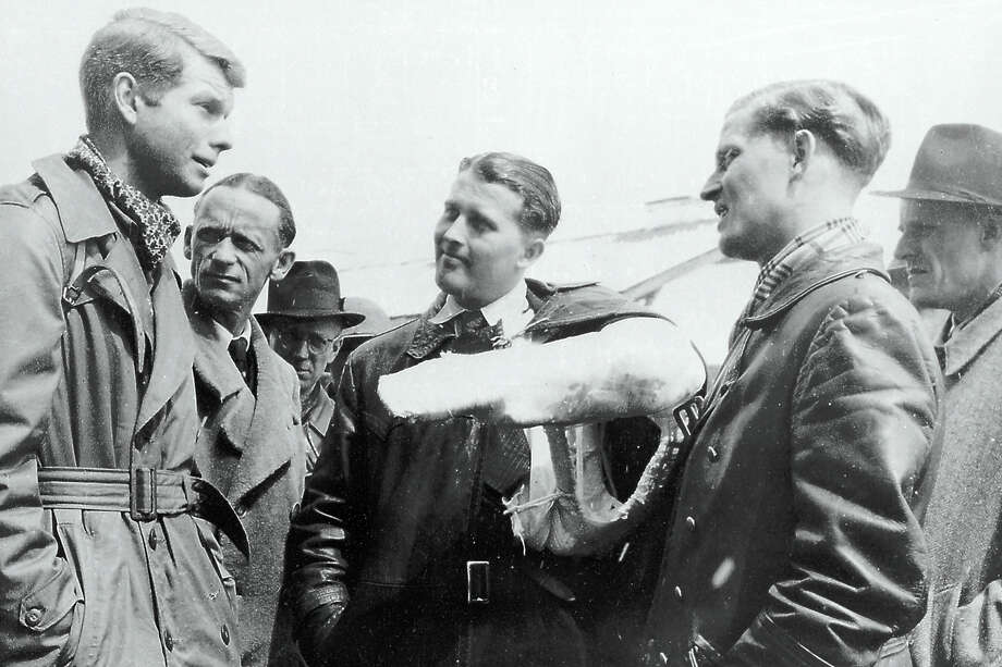 Wernher Von Braun -- with his arm in a cast after it was broken in a car accident -- surrenders to U.S. Army Counterintelligence personnel in Ruette, Austria on May 2, 1945. Von Braun's brother Magnus is to his right. As the Allies captured Germany from the east and west, both the United 