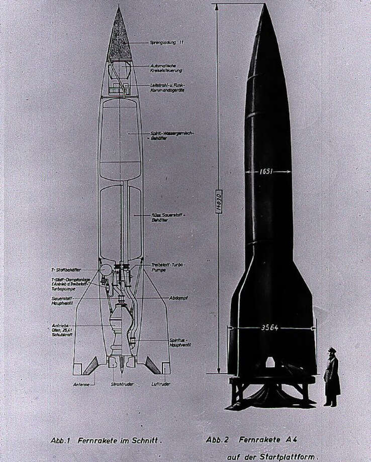 "This German cutaway drawing of the V-2 illustrates the dimensions and internal workings of the rocket.  Originally called the originally named the Aggregate-4 (A-4), Adolf Hitler renamed the rocket ""Vengeance Weapon 2."" The V-1 was an early cruise missile. Photo: NASA Marshall Space Flight Center"