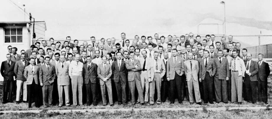 Wernher von Braun and his the team are shown at Fort Bliss, Texas. Von Braun led about 120 of his colleagues from the German rocket program at 