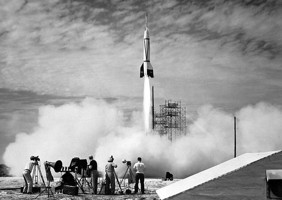 The U.S. launches the first rocket from Cape Canaveral, Fla., on July 24, 1950. The two-stage Bumper 2 was a V-2 missile topped with a WAC Corporal rocket. The upper stage was able to reach then-record altitudes of almost 240 miles. Bumper 2 was used primarily for testing rocket systems and research on the upper atmosphere. Photo: NASA