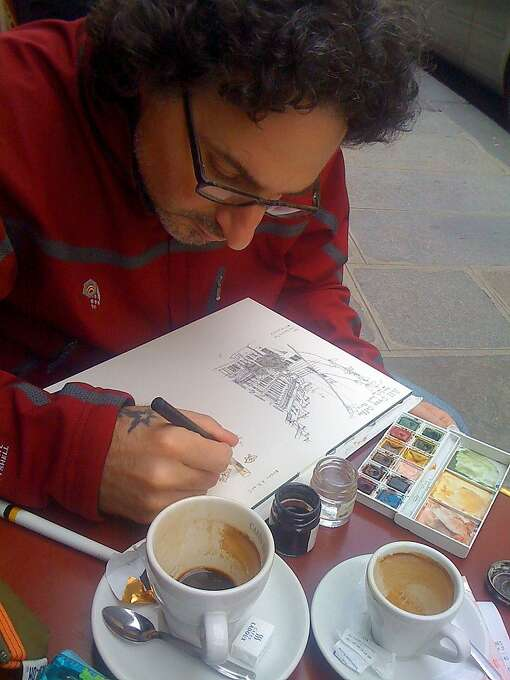 Artist Paul Madonna, creator of the All Over Coffee strip, at work. Photo: Joen Madonna
