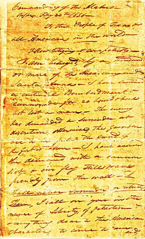 "This is page one of the famed ""victory or death"" letter that Alamo commander William Barret Travis wrote from the besieged mission in 1836. Photo: Texas Heritage Society"