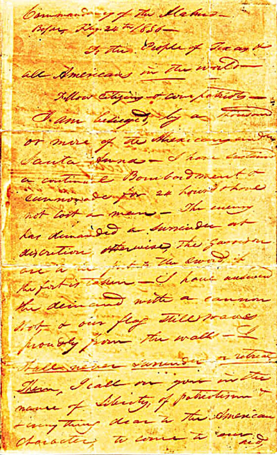 "The Texas General Land Office spokesman Mark Loeffler said his agency has been at odds with the State Library and Archives Commission, trying to get the original 'victory or death' William Barrett Travis letter returned to the Alamo for the first time since it was written in 1836.  The Travis ""Victory or Death"" letter is located in the Texas State Library and Archives, Austin. Photo: Texas Heritage Society"