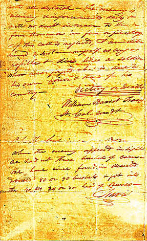 "This is page two of the famed ""victory or death"" letter that Alamo commander William Barret Travis wrote from the besieged mission in 1836. Photo: Texas Heritage Society"