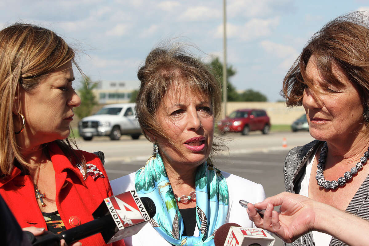 U.S. Congresswomen, members of the House Armed Services Committee, from left, Loretta Sanchez, D-California, Jackie Speier, D-California and Susan Davis, D-California hold a press conference outside Lackland Air Force Base, Tuesday, Oct. 2, 2012. The committee members met with personnel at the base to investigate the ongoing sex scandal.