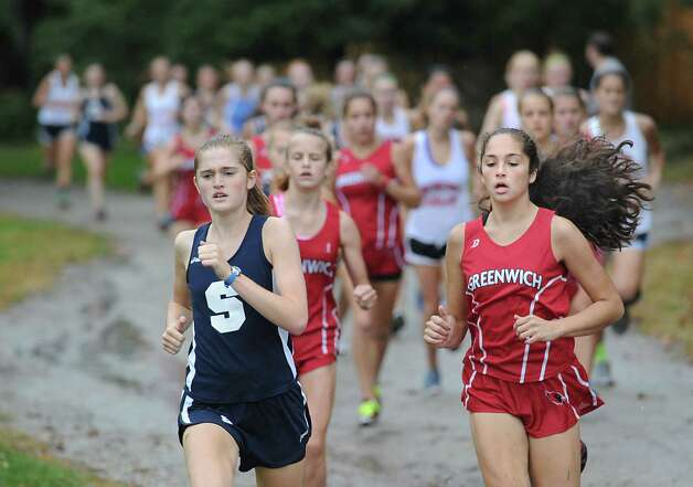 Girls high school cross country meet at Greenwich Point, Tuesday afternoon, Oct. 2, 2012. Photo: Bob Luckey / Greenwich Time