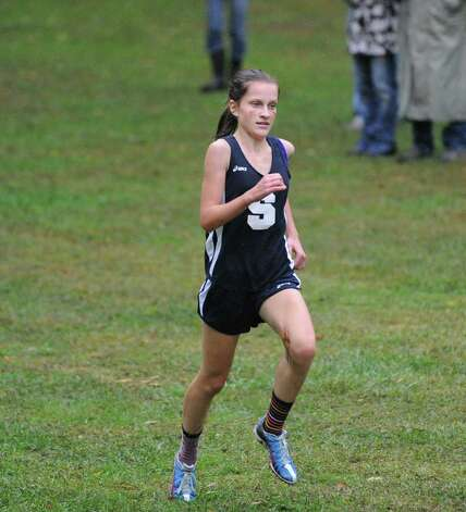 Staples' Hannah Debalsi competes in the girls high school cross country meet at Greenwich Point, Tuesday afternoon, Oct. 2, 2012. Debalsi came in second place in the race. Photo: Bob Luckey / Greenwich Time