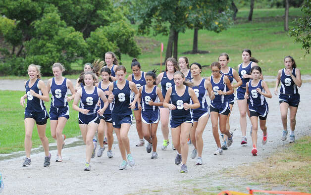 The Staples High School girls cross country team before their meet at Greenwich Point, Tuesday afternoon, Oct. 2, 2012. Photo: Bob Luckey / Greenwich Time