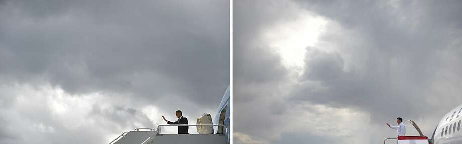 This combination of file pictures shows US President Barack Obama (L) waving as he steps off Air Force One upon arrival at King County International Airport in Seattle on September 25, 2011, and US Republican presidential candidate Mitt Romney (R) boarding his campaign plane after a campaign rally September 24, 2012 at Pueblo Memorial Airport in Pueblo, Colorado September 24, 2012. AFP PHOTO/Mandel NGAN-/AFP/GettyImages Photo: -, AFP/Getty Images